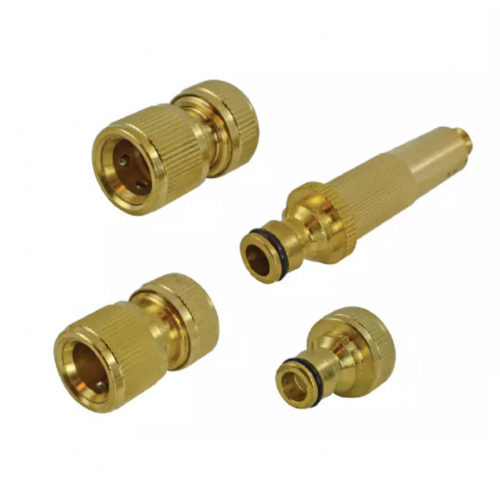 "Faithfull FAIHOSESET4 Brass Nozzle & Hose Fittings Kit 4 Piece 12.5mm (1/2"")"